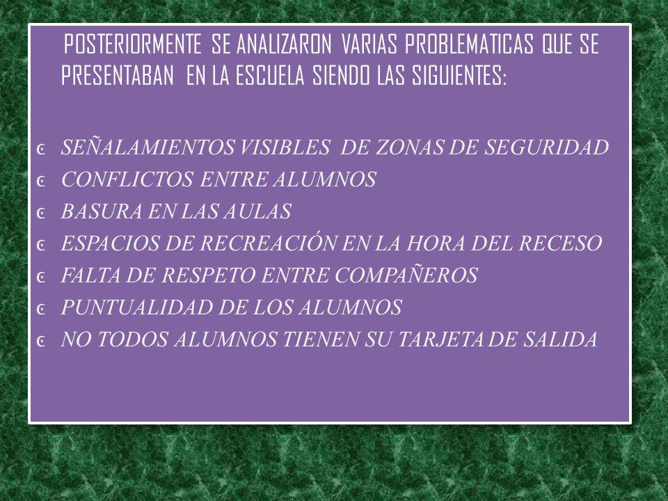 POSTERIORMENTE SE ANALIZARON VARIAS PROBLEMATICAS QUE SE PRESENTABAN EN LA ESCUELA SIENDO LAS SIGUIENTES: