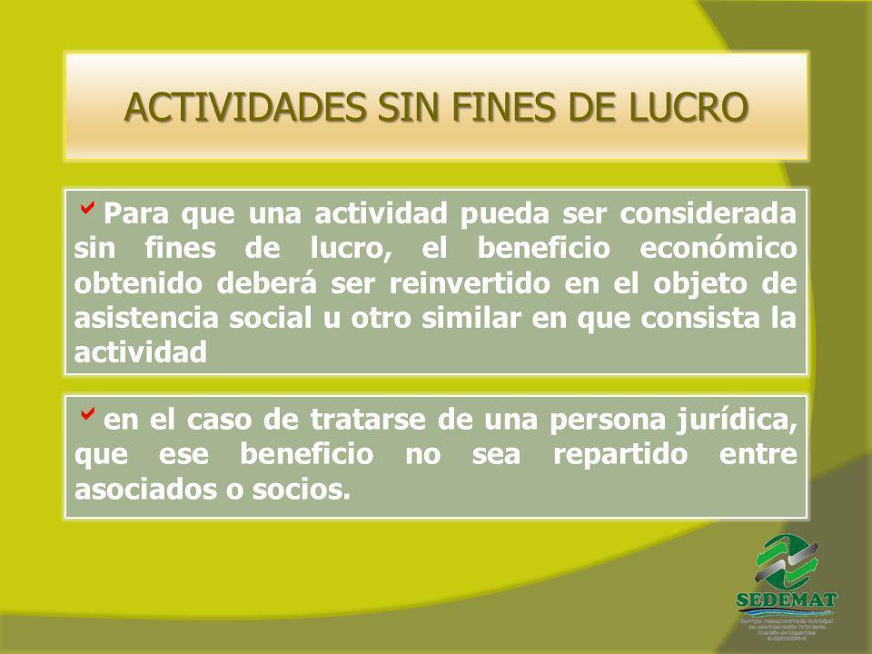 ACTIVIDADES SIN FINES DE LUCRO