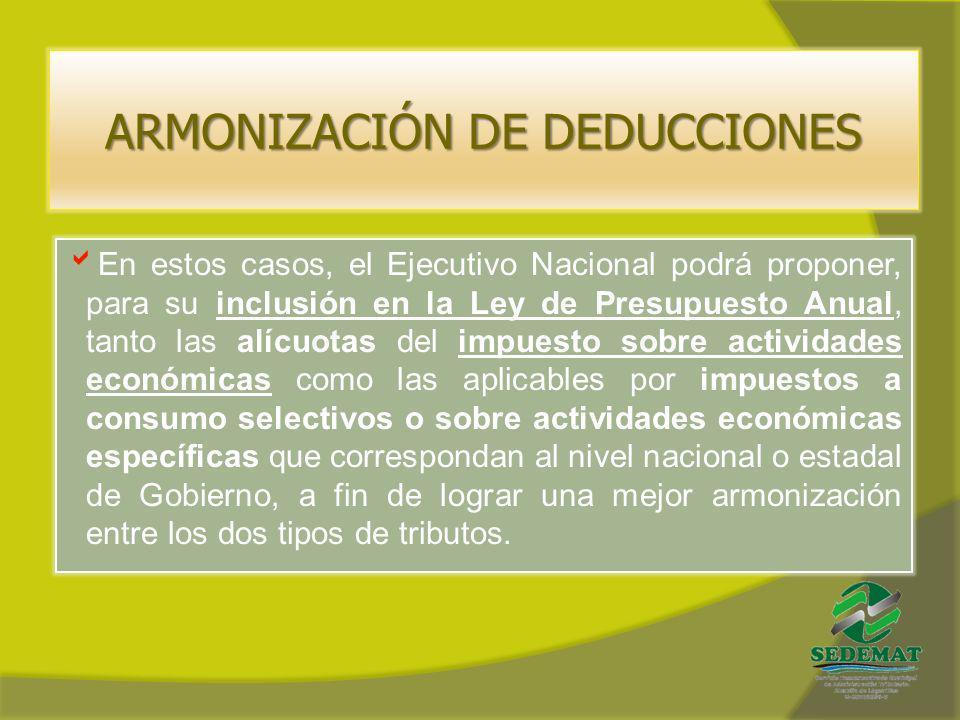 ARMONIZACIÓN DE DEDUCCIONES