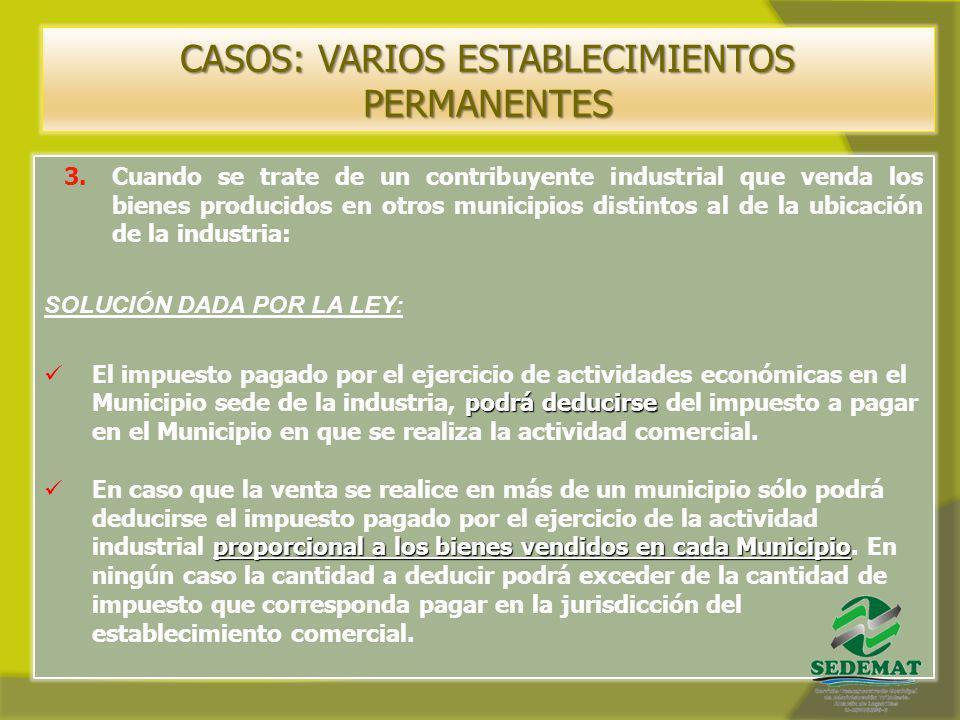 CASOS: VARIOS ESTABLECIMIENTOS PERMANENTES