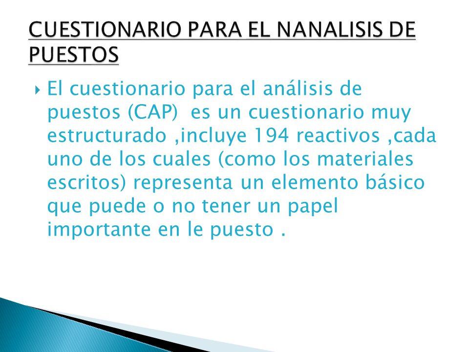 CUESTIONARIO PARA EL NANALISIS DE PUESTOS