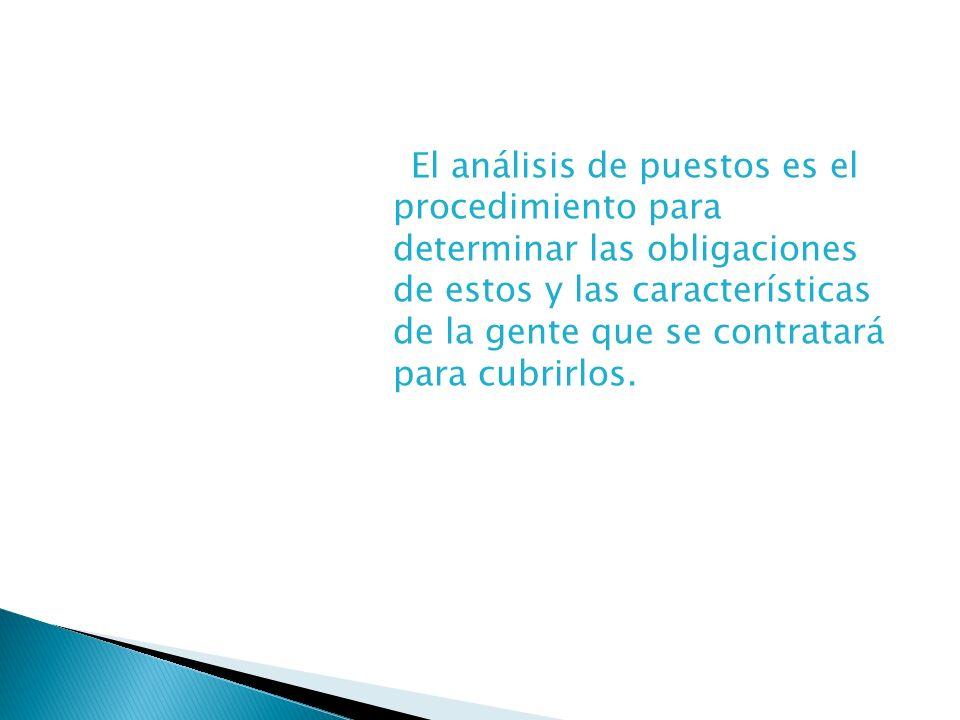 El análisis de puestos es el procedimiento para determinar las obligaciones de estos y las características de la gente que se contratará para cubrirlos.