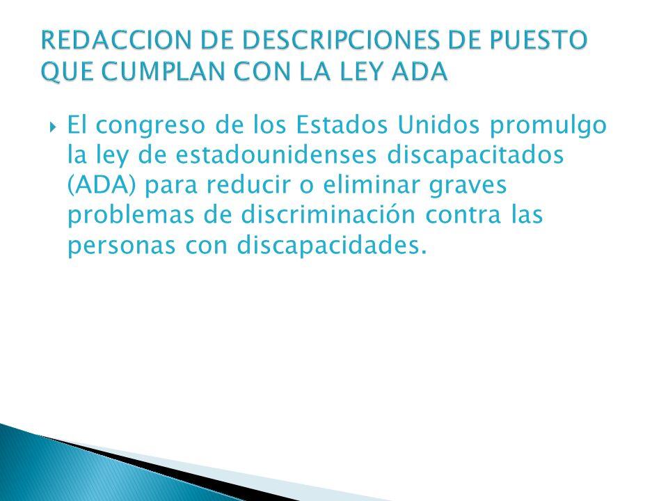 REDACCION DE DESCRIPCIONES DE PUESTO QUE CUMPLAN CON LA LEY ADA