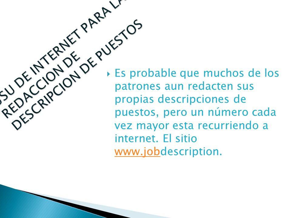 USU DE INTERNET PARA LA REDACCION DE DESCRIPCION DE PUESTOS