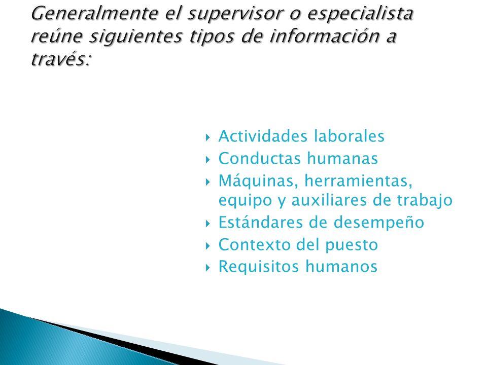 Generalmente el supervisor o especialista reúne siguientes tipos de información a través: