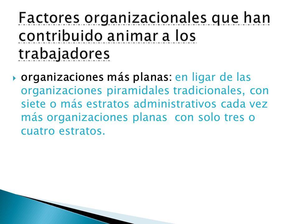Factores organizacionales que han contribuido animar a los trabajadores