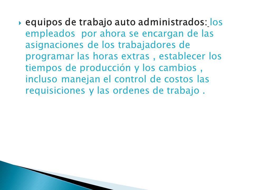 equipos de trabajo auto administrados: los empleados por ahora se encargan de las asignaciones de los trabajadores de programar las horas extras , establecer los tiempos de producción y los cambios , incluso manejan el control de costos las requisiciones y las ordenes de trabajo .