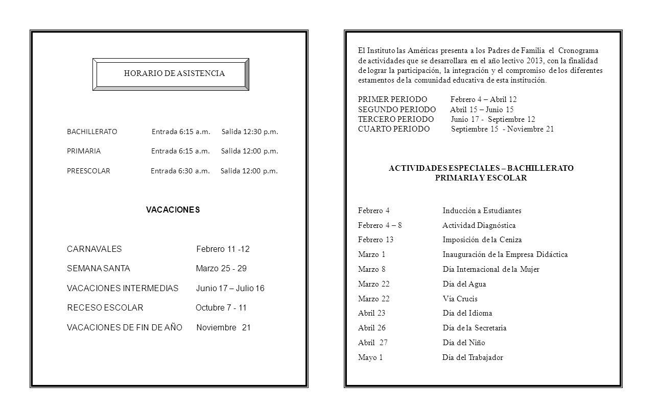 ACTIVIDADES ESPECIALES – BACHILLERATO