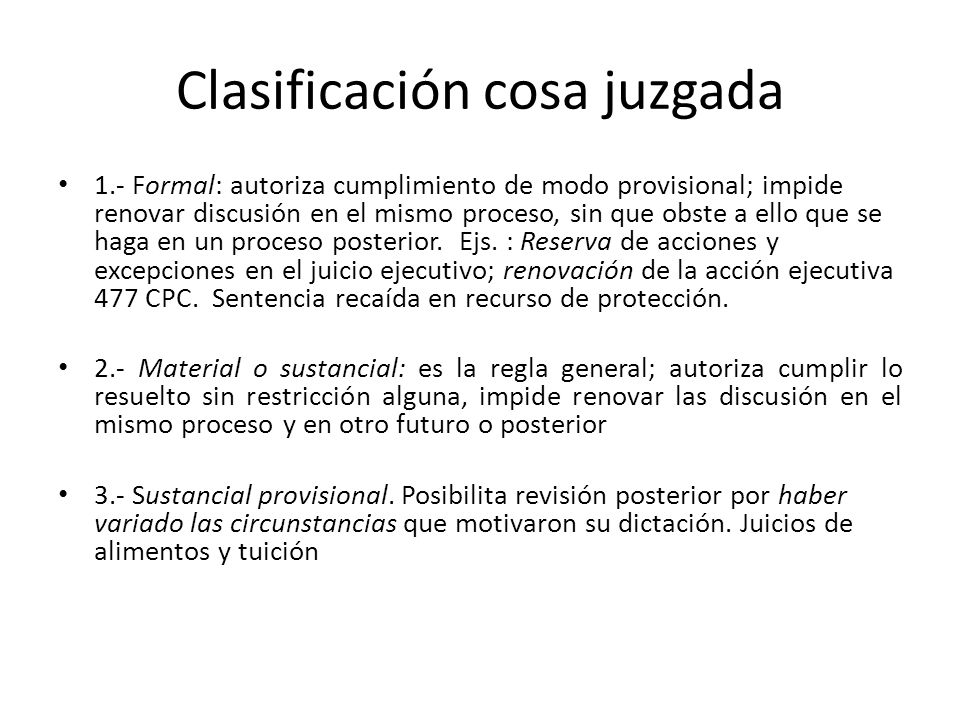 Clasificación cosa juzgada