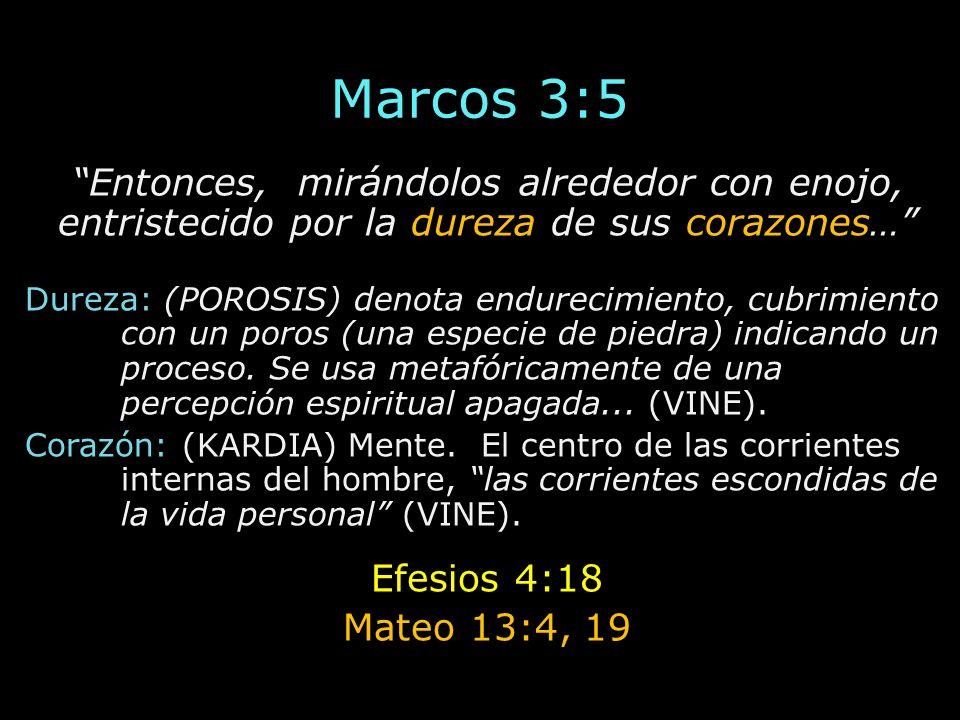 Marcos 3:5 Entonces, mirándolos alrededor con enojo, entristecido por la dureza de sus corazones…