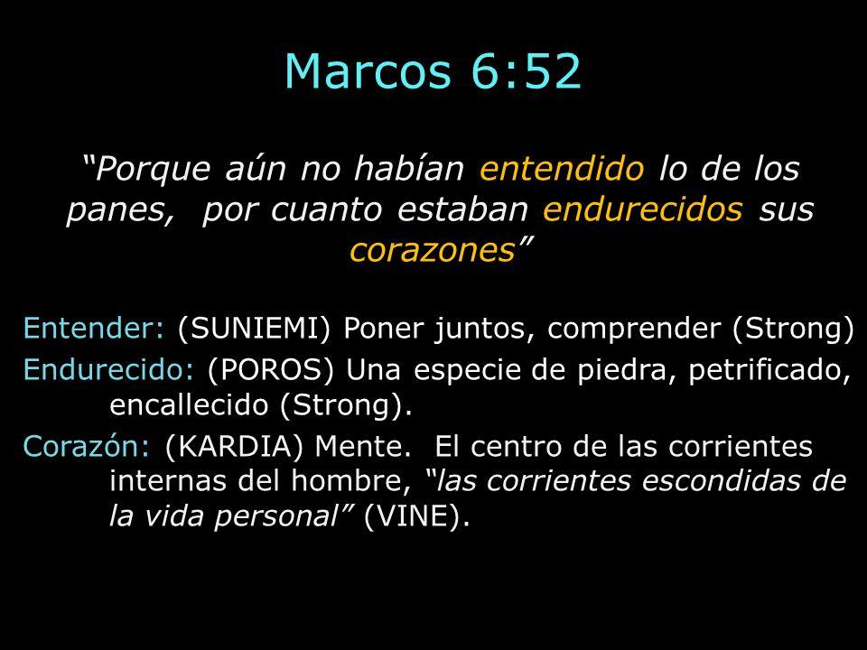 Marcos 6:52 Porque aún no habían entendido lo de los panes, por cuanto estaban endurecidos sus corazones