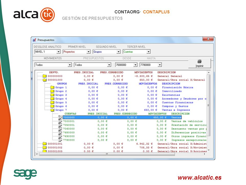 CONTAORG· CONTAPLUS GESTIÓN DE PRESUPUESTOS www.alcatic.es