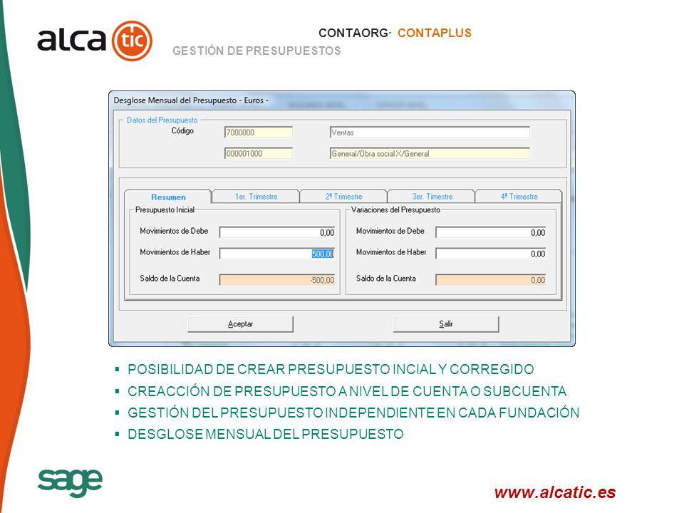 www.alcatic.es POSIBILIDAD DE CREAR PRESUPUESTO INCIAL Y CORREGIDO