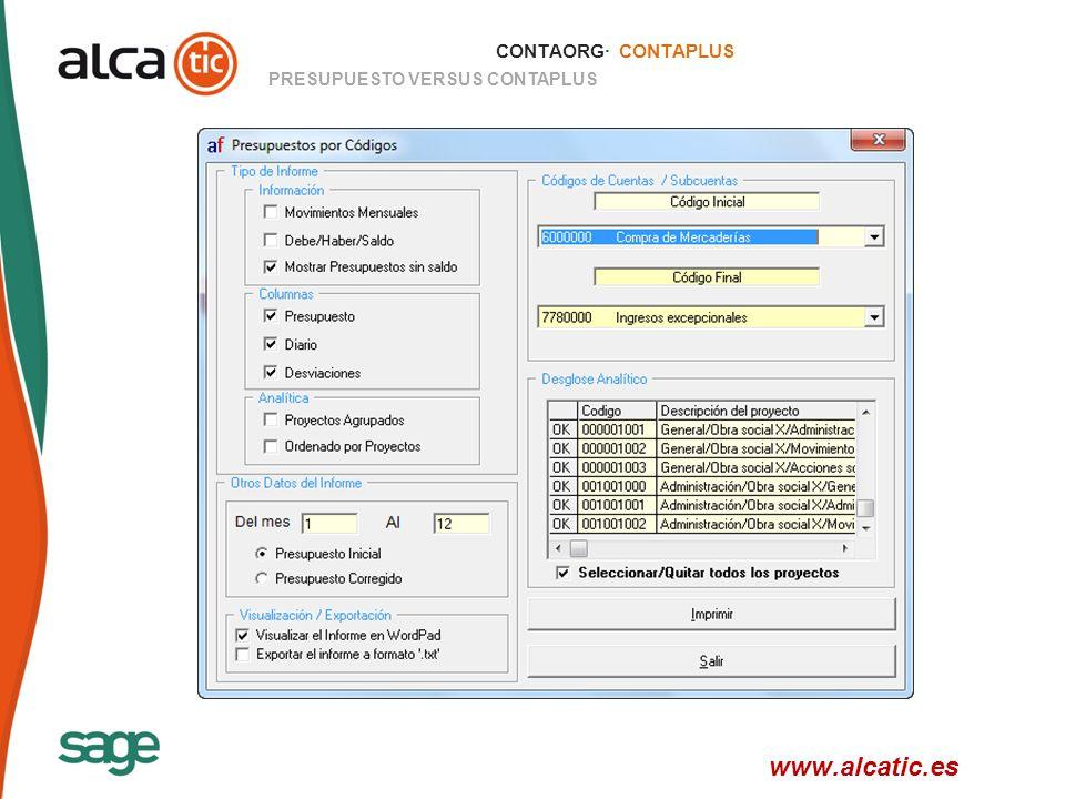 CONTAORG· CONTAPLUS PRESUPUESTO VERSUS CONTAPLUS www.alcatic.es