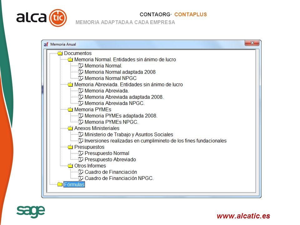 CONTAORG· CONTAPLUS MEMORIA ADAPTADA A CADA EMPRESA www.alcatic.es