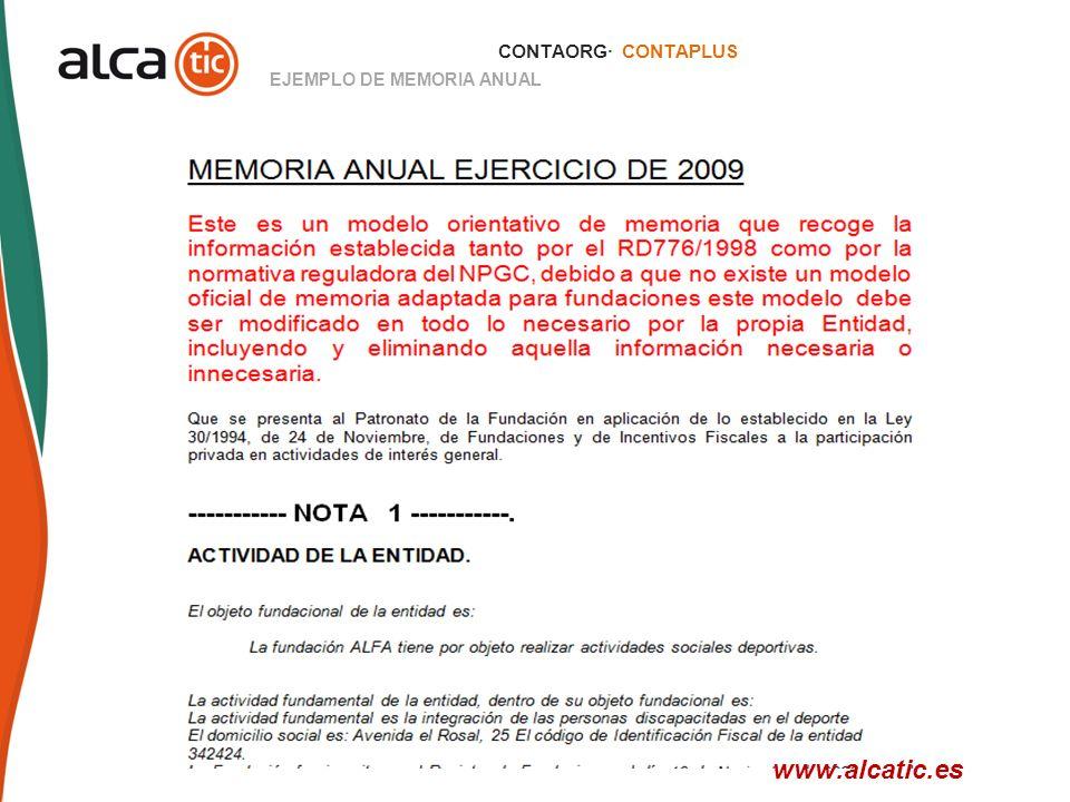 CONTAORG· CONTAPLUS EJEMPLO DE MEMORIA ANUAL www.alcatic.es