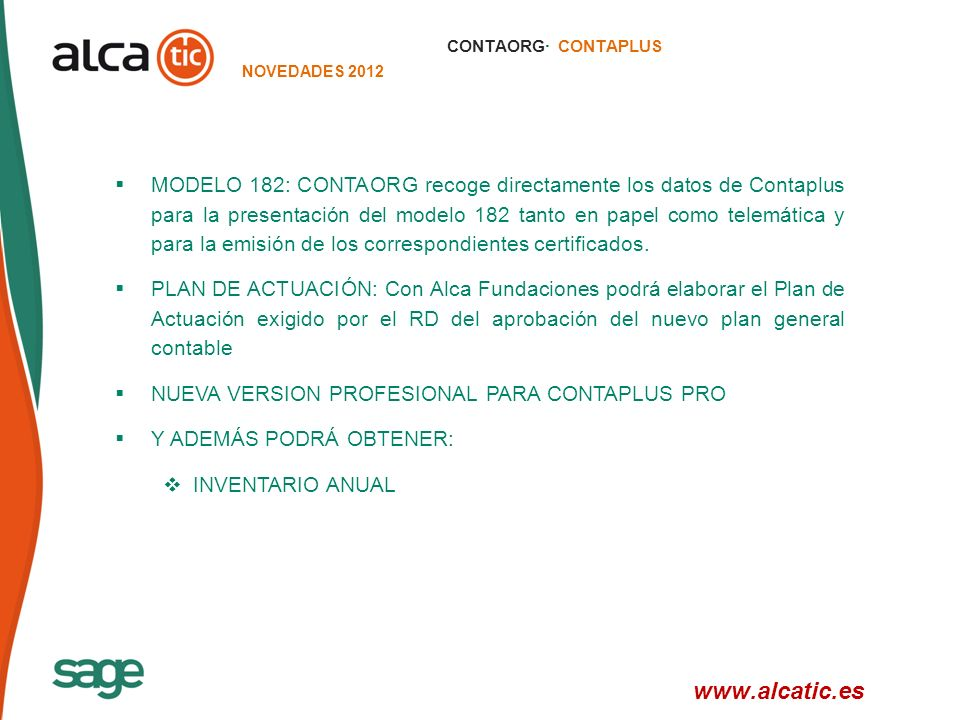 CONTAORG· CONTAPLUS NOVEDADES 2012.