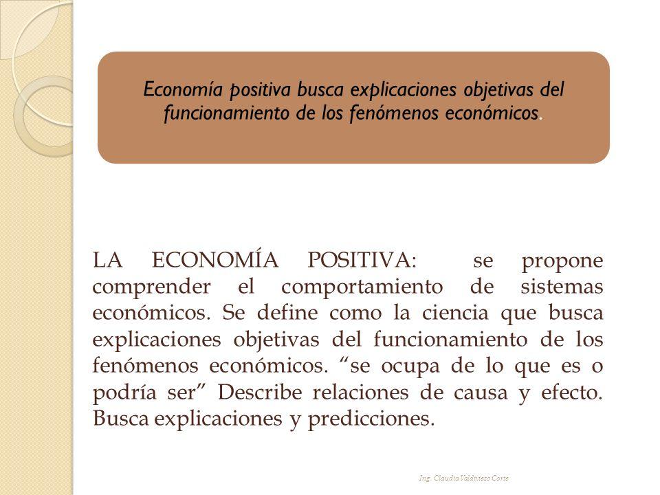 Economía positiva busca explicaciones objetivas del funcionamiento de los fenómenos económicos.