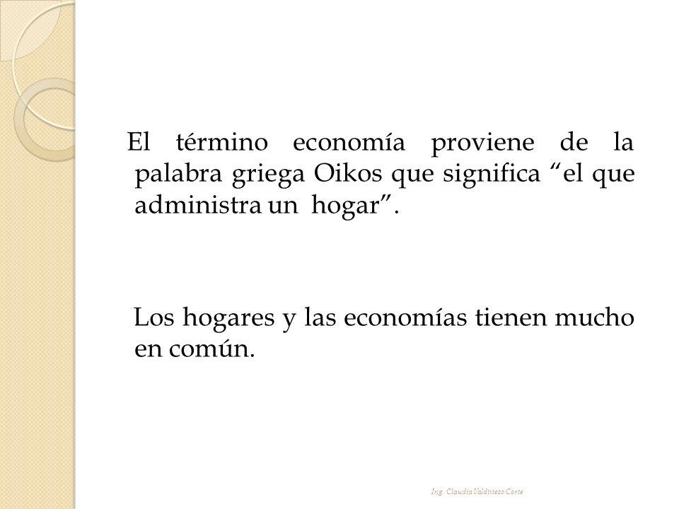 El término economía proviene de la palabra griega Oikos que significa el que administra un hogar . Los hogares y las economías tienen mucho en común.