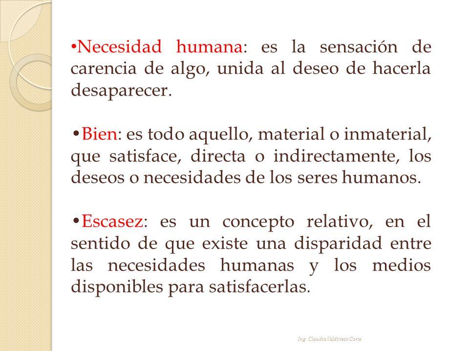 Necesidad humana: es la sensación de carencia de algo, unida al deseo de hacerla desaparecer.