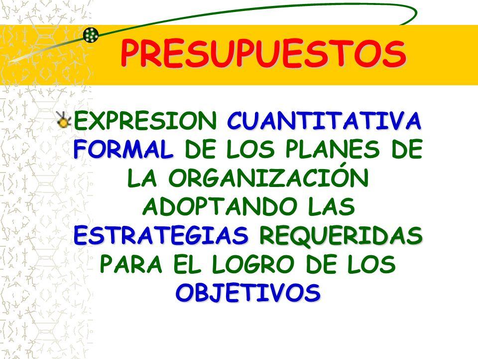 PRESUPUESTOS EXPRESION CUANTITATIVA FORMAL DE LOS PLANES DE LA ORGANIZACIÓN ADOPTANDO LAS ESTRATEGIAS REQUERIDAS PARA EL LOGRO DE LOS OBJETIVOS.