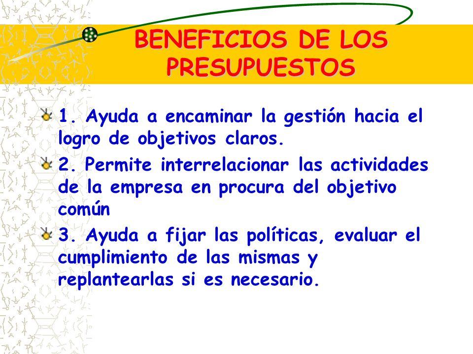 BENEFICIOS DE LOS PRESUPUESTOS