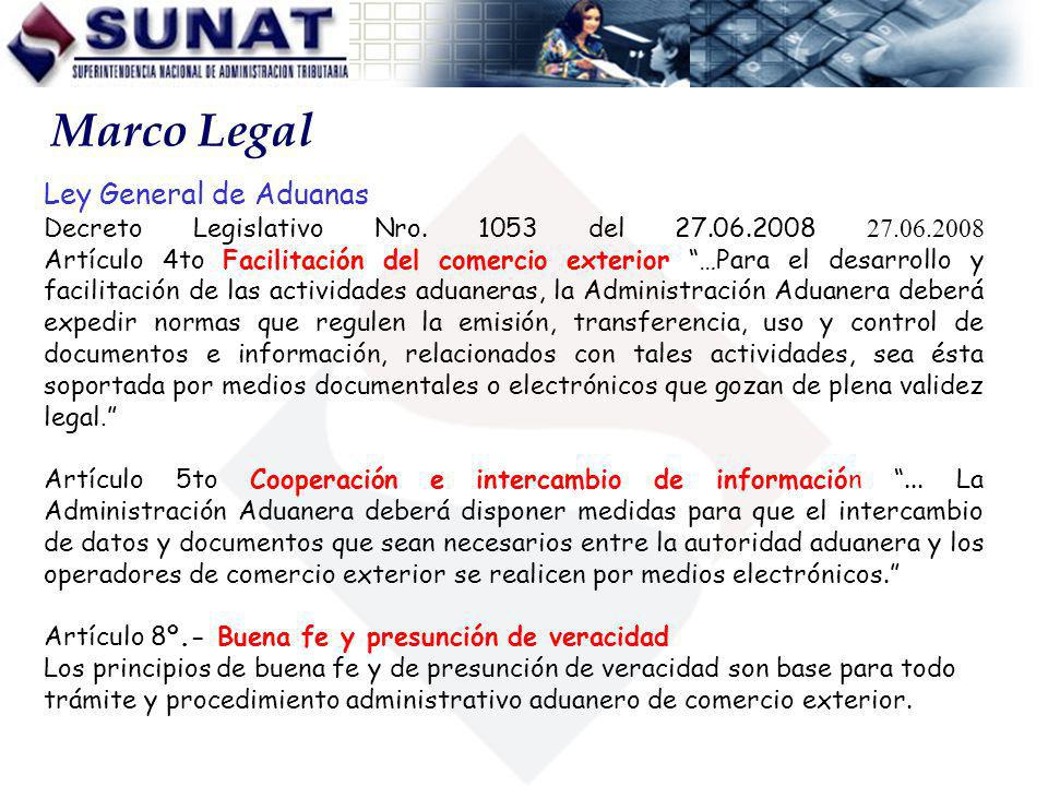 Marco Legal Ley General de Aduanas
