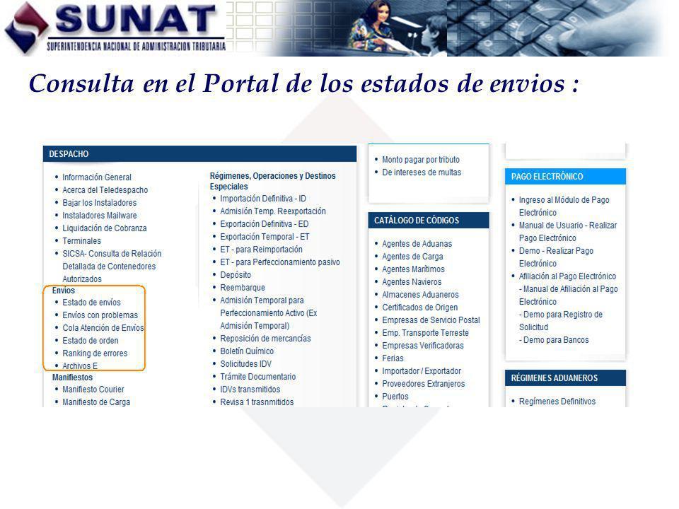 Consulta en el Portal de los estados de envios :