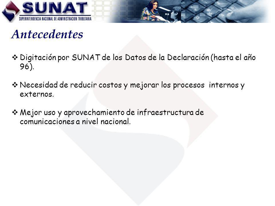Antecedentes Digitación por SUNAT de los Datos de la Declaración (hasta el año 96).