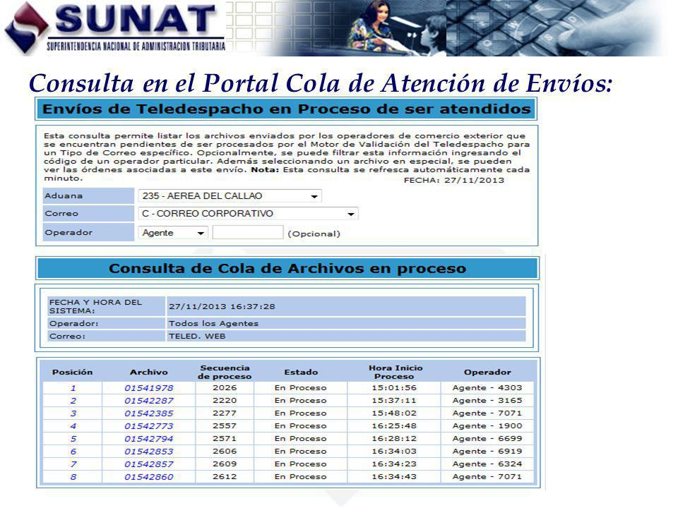 Consulta en el Portal Cola de Atención de Envíos: