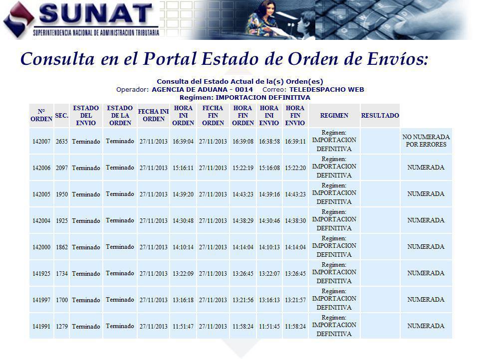 Consulta en el Portal Estado de Orden de Envíos: