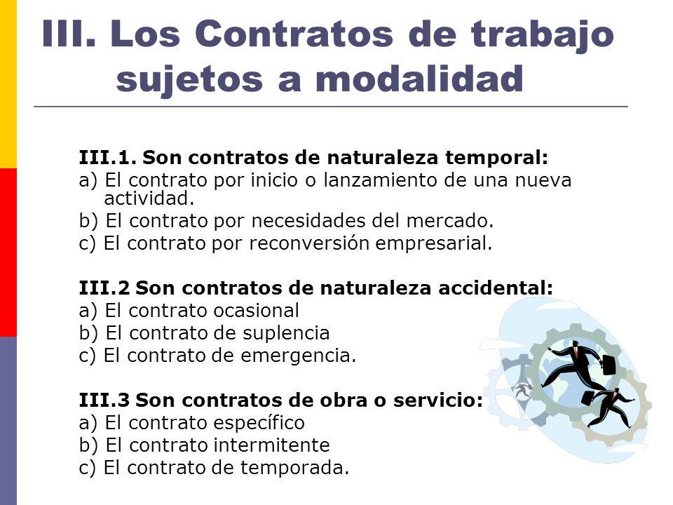 III. Los Contratos de trabajo sujetos a modalidad
