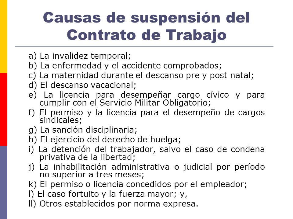 Causas de suspensión del Contrato de Trabajo