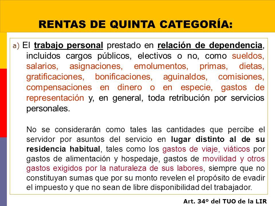 RENTAS DE QUINTA CATEGORÍA: