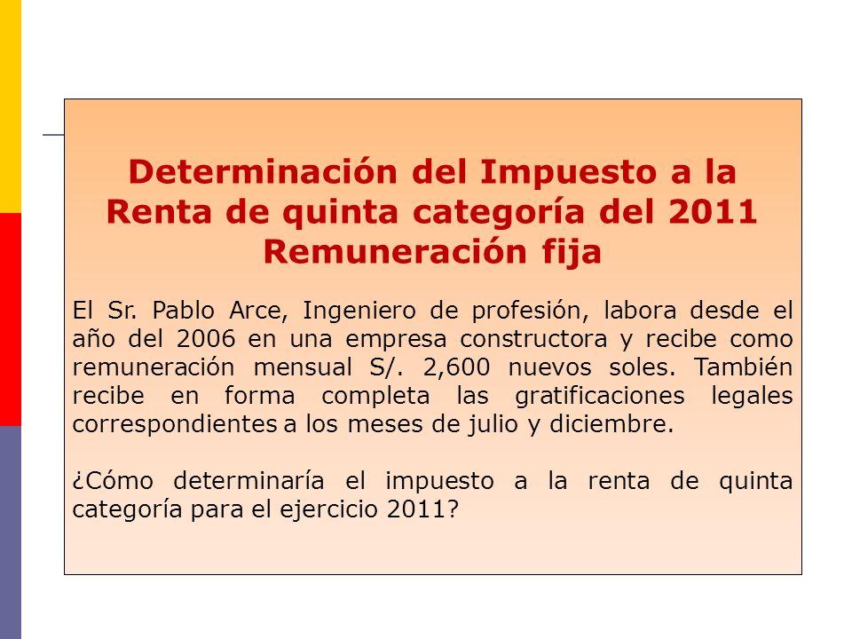 Determinación del Impuesto a la Renta de quinta categoría del 2011