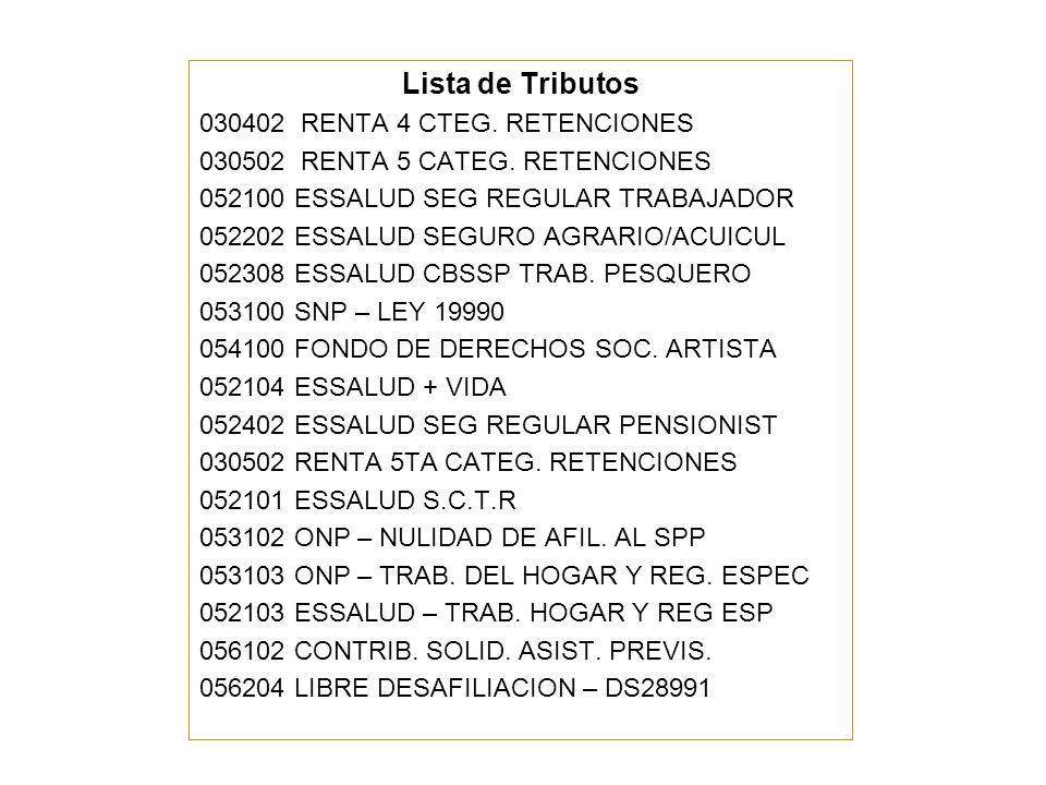 Lista de Tributos 030402 RENTA 4 CTEG. RETENCIONES
