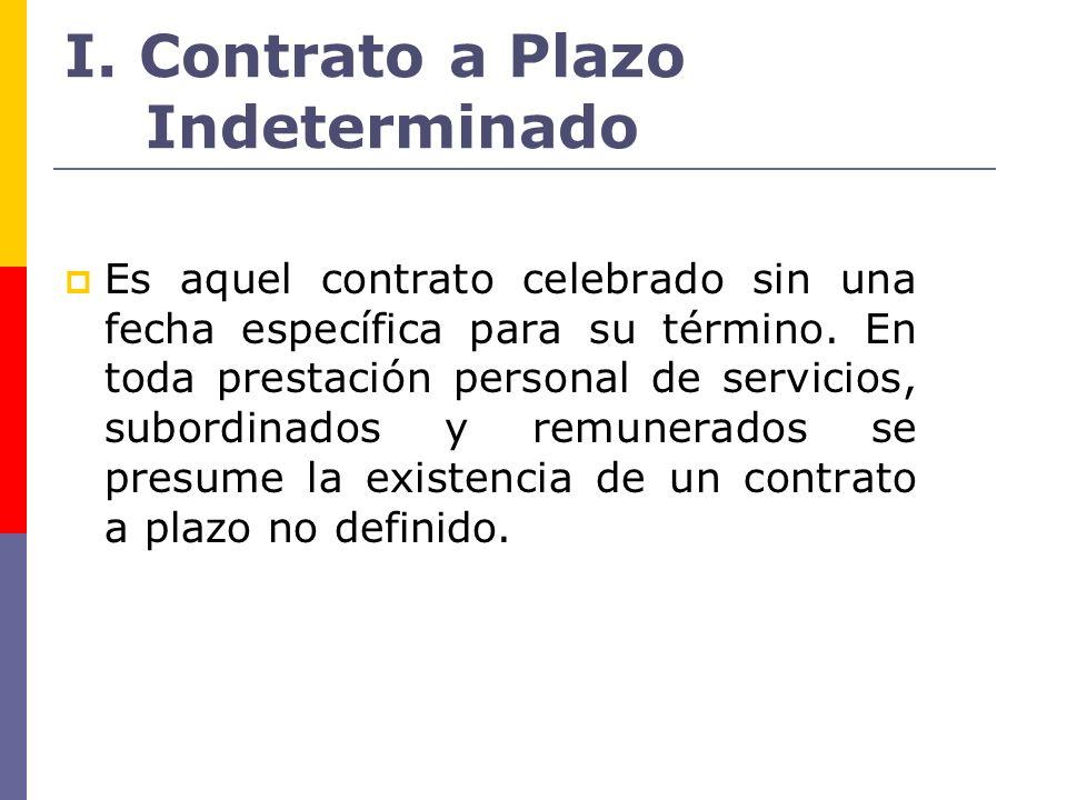 I. Contrato a Plazo Indeterminado