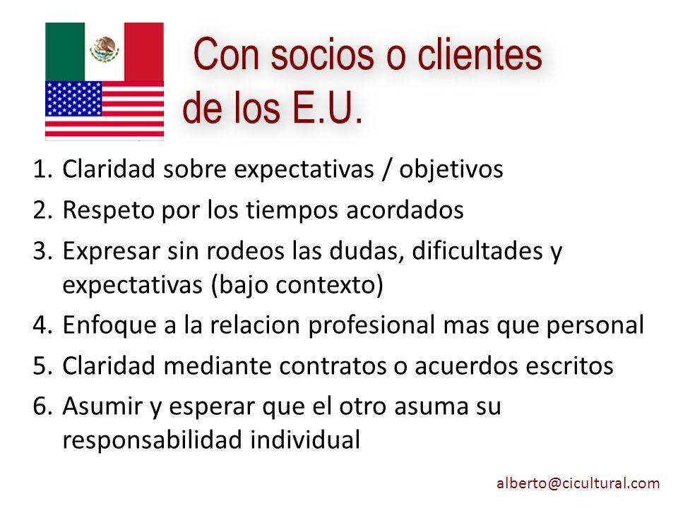 Con socios o clientes de los E.U.