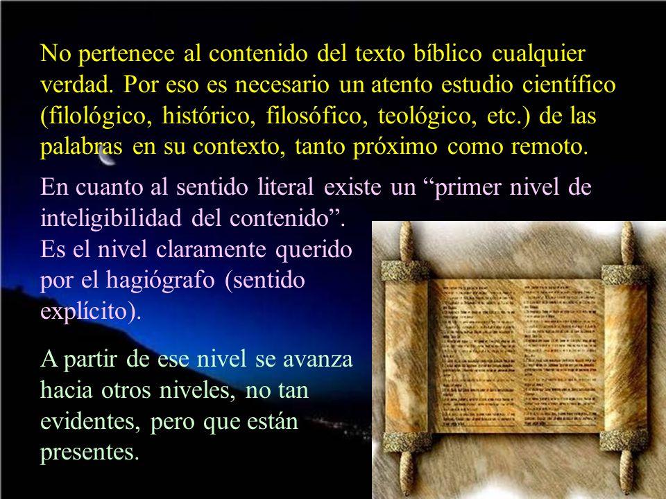 No pertenece al contenido del texto bíblico cualquier verdad