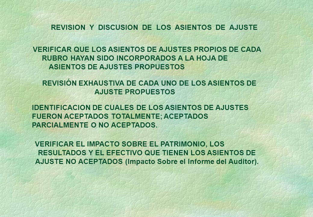 REVISION Y DISCUSION DE LOS ASIENTOS DE AJUSTE