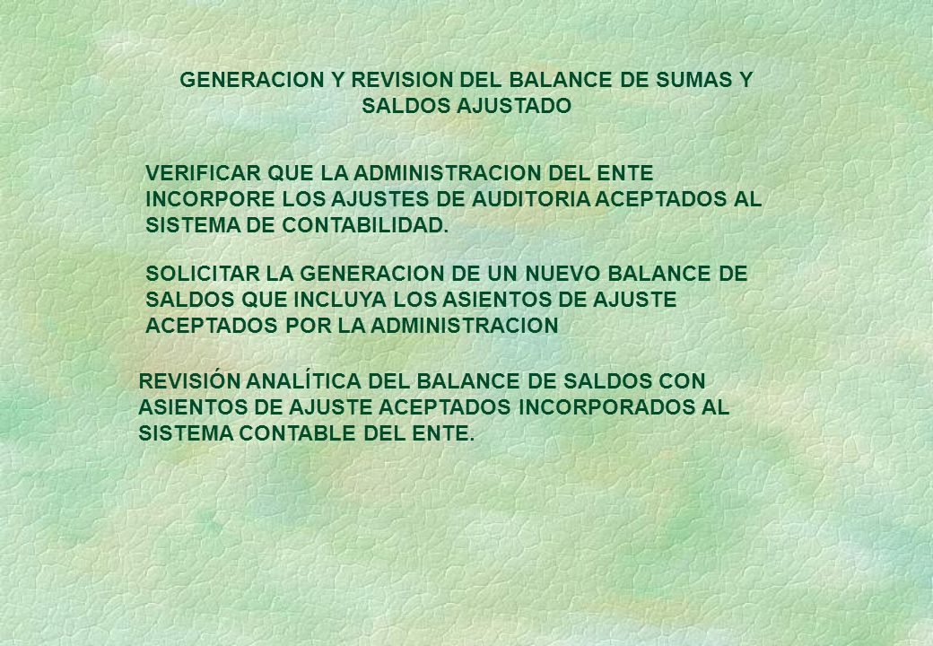 GENERACION Y REVISION DEL BALANCE DE SUMAS Y