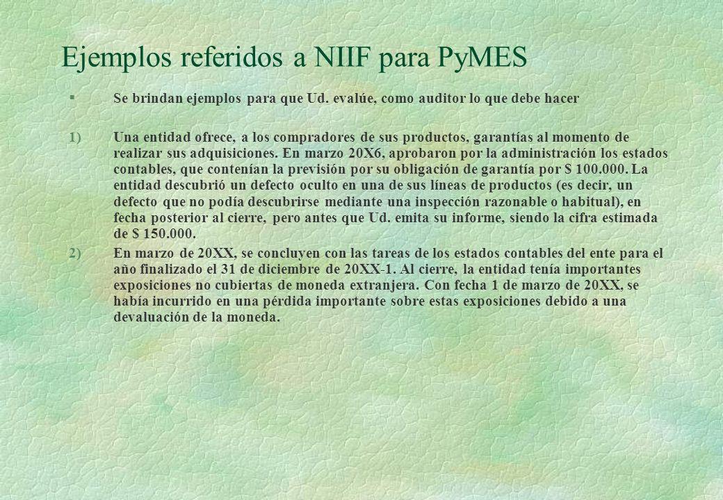 Ejemplos referidos a NIIF para PyMES