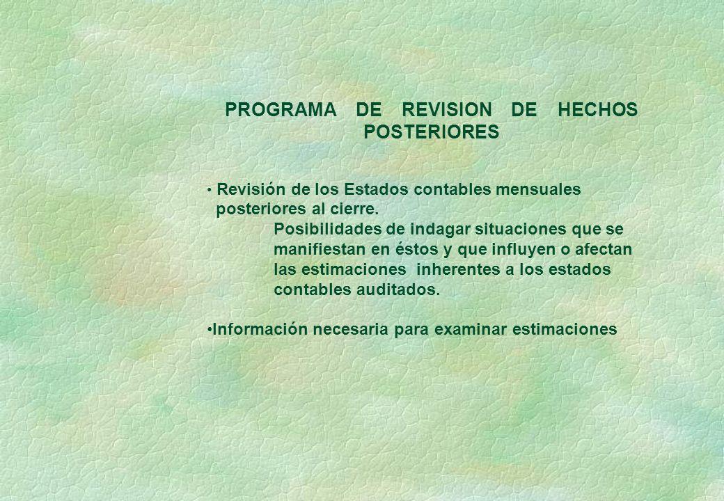 PROGRAMA DE REVISION DE HECHOS POSTERIORES