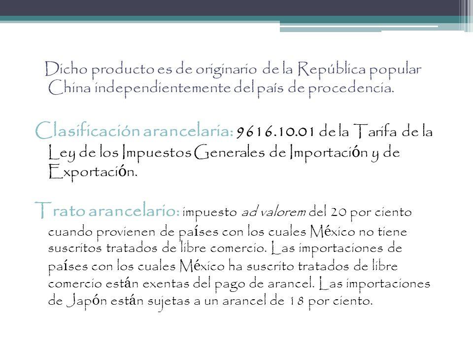 Dicho producto es de originario de la República popular China independientemente del país de procedencia.