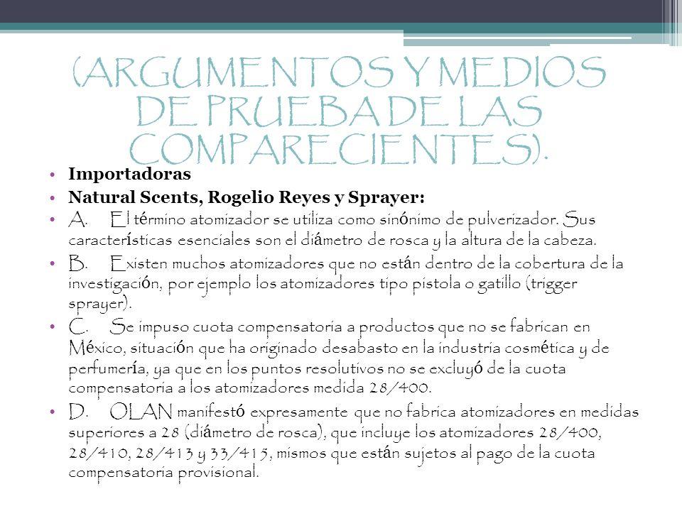 (ARGUMENTOS Y MEDIOS DE PRUEBA DE LAS COMPARECIENTES).