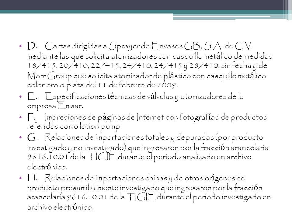 D. Cartas dirigidas a Sprayer de Envases GB, S. A. de C. V