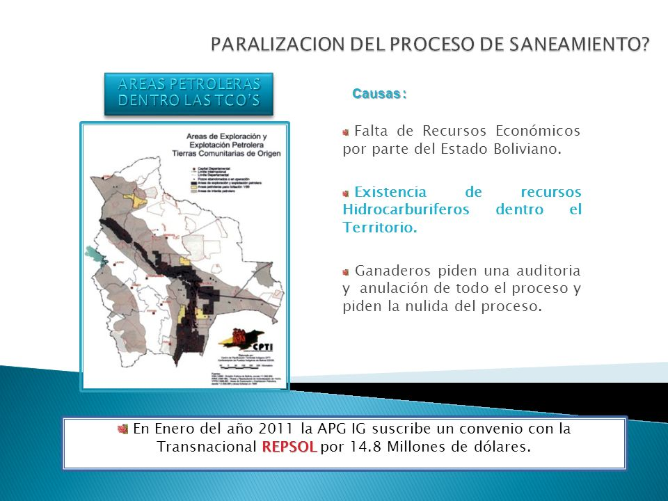 PARALIZACION DEL PROCESO DE SANEAMIENTO