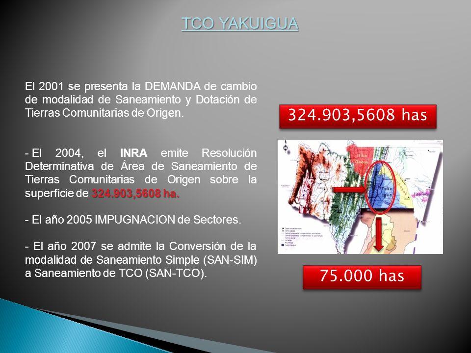 TCO YAKUIGUA El 2001 se presenta la DEMANDA de cambio de modalidad de Saneamiento y Dotación de Tierras Comunitarias de Origen.