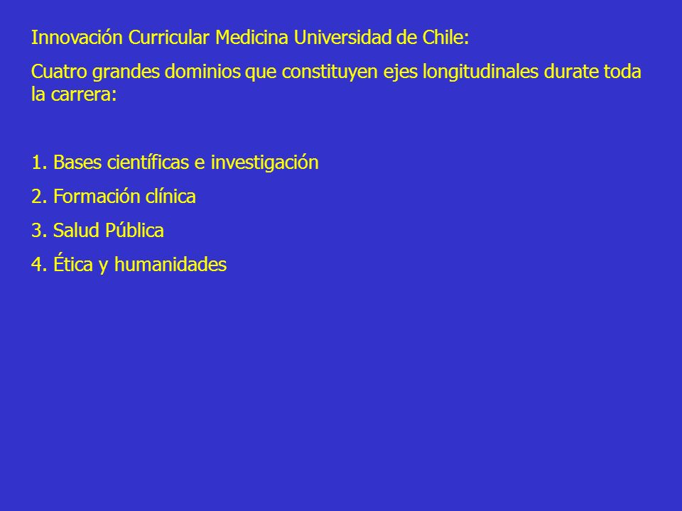 Innovación Curricular Medicina Universidad de Chile: