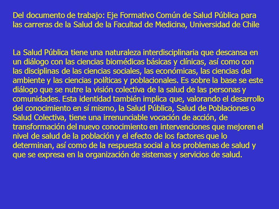 Del documento de trabajo: Eje Formativo Común de Salud Pública para las carreras de la Salud de la Facultad de Medicina, Universidad de Chile
